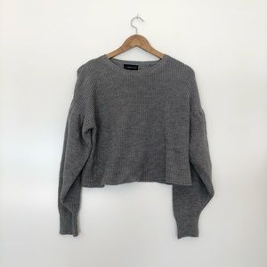 Mustard Seed Puckered Sleeves Chunky Gray Sweater